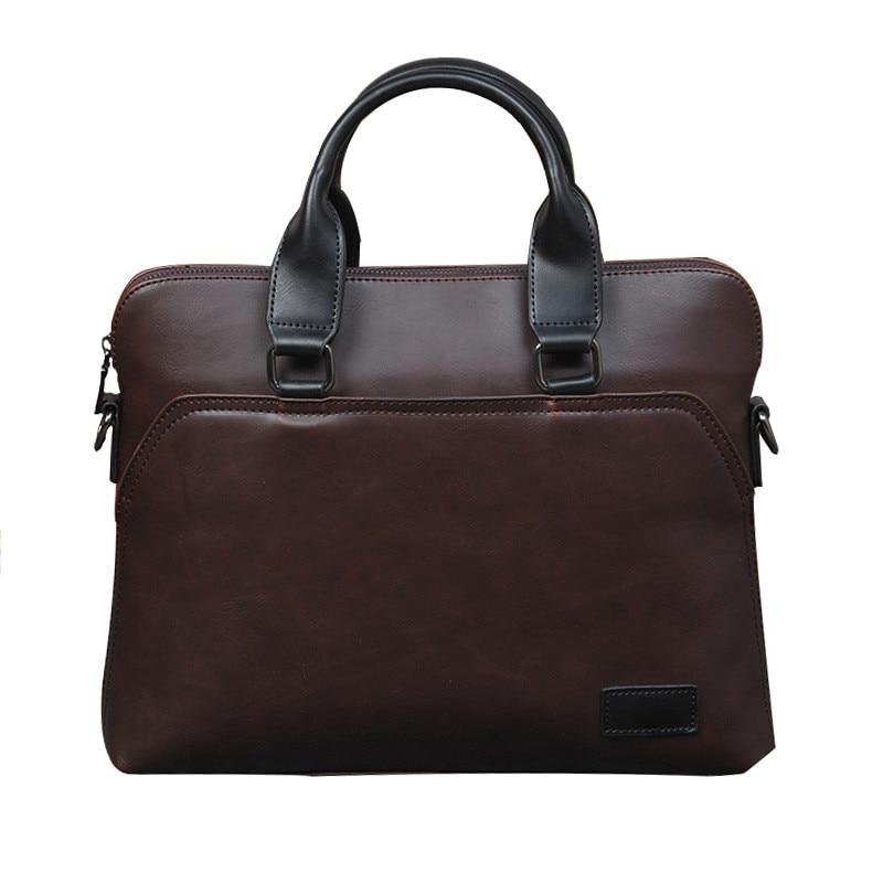 Vintage Men Briefcase Business Office Handbag Crazy Horse Leather Shoulder Messenger Bag For 13
