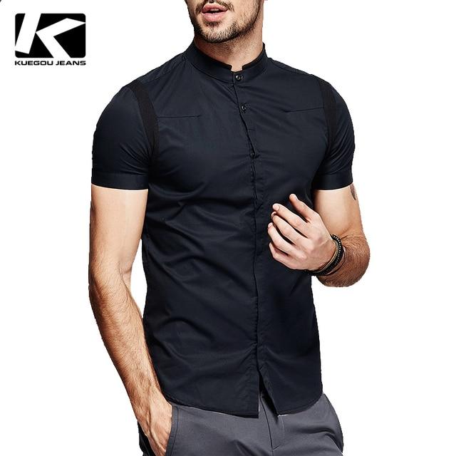 KUEGOU hombre camisas de manga corta, cuello mao camisas