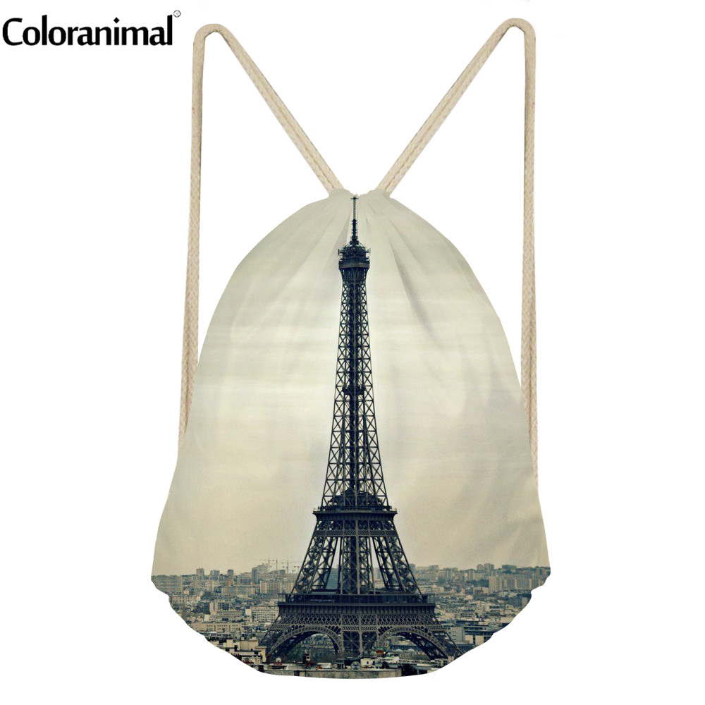 Coloranimal Women Drawstring Bag Fashion Eiffel Tower Print Female Beach Backpack Brand Design Fitness Yoga Shoes Sack Rucksack