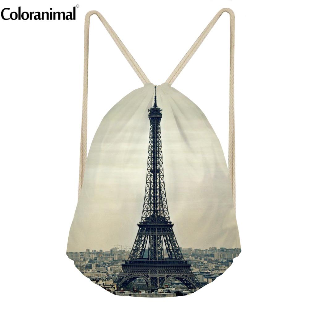 Coloranimal Women Drawstring Bag Fashion Eiffel Tower Print Female Beach Backpack Brand Design Fitness Yoga Shoes Sack Rucksack
