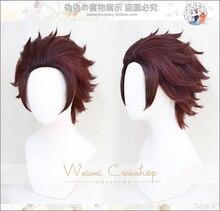 שד סלייר: Kimetsu לא Yaiba Tanjiro קאמאדו קצר ערמונים חום חום עמיד שיער Cosplay תלבושות פאה + כובע פאה