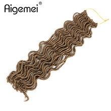 купить✲  Aigemei 18 дюймов 100 г 24 корня Faux Locs вьющиеся волосы крючком синтетическая коса наращивание