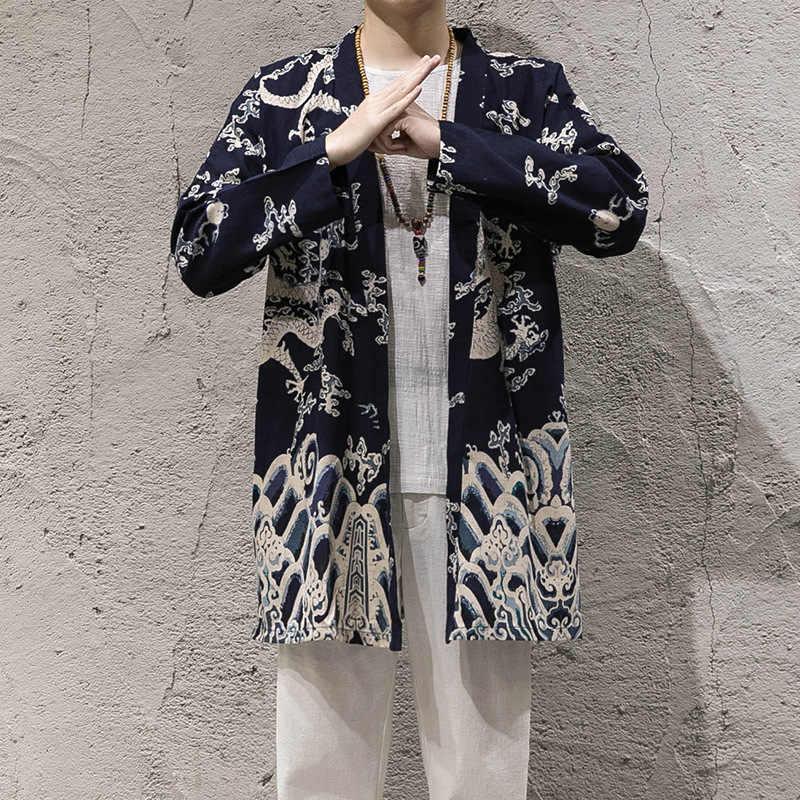 メンズ春の秋のジャケットコットンリネン花柄プリントカンフー太極拳マスター衣装男性繁体字中国語服 CN-107