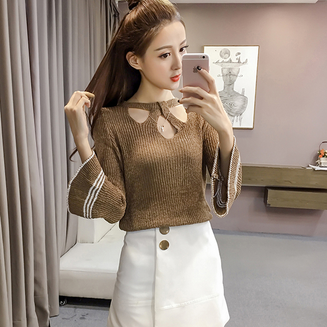 Blusas Mujer De Moda 2018 Knitted Shirt Women Tops Korean Fashion Nine Quarter Hollow Out Flare ...