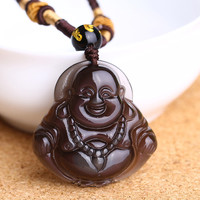 Natural Brown Pendant Maitreya Laughing Buddha Pendant Necklace Jewelry Free Ropeift for Men Women