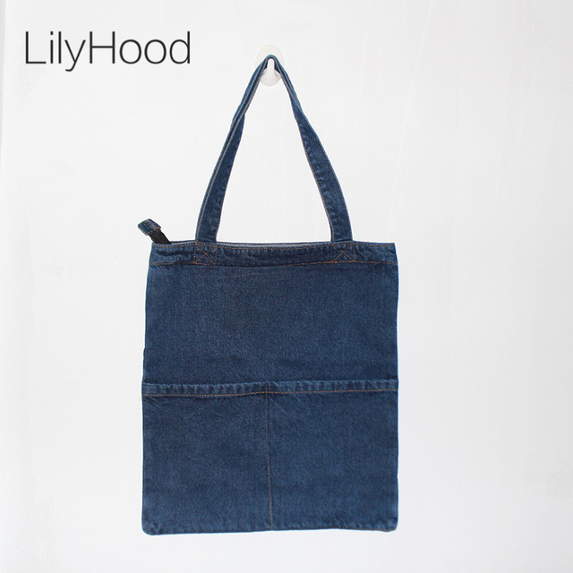 Women Denim Tote Bag Casual Plain Light Blue Fabric Jean Top Handle Front Pocket Teacher Ping