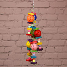 1Pcs Pet parrot toy Colorful wood bite ball bird toys colored beads plastic three hanging birdcage accessories supplies