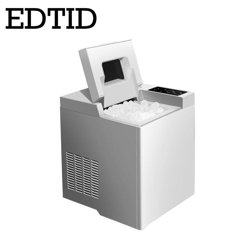 EDTID Mini Automatic Electric Ice Maker 15kgs/24H Machine Bullet Round Block Ice Cube Coffee Shop Bar Household 1.3L Capacity EU