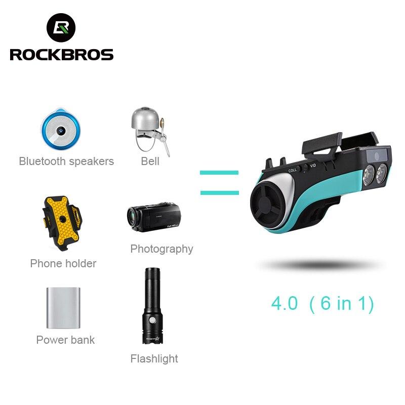 ROCKBROS Étanche Vélo 5 Dans 1 Multi Fonction haut-parleur bluetooth batterie mobile 4400 mAh batterie externe support pour téléphone Vélos Lumière - 5