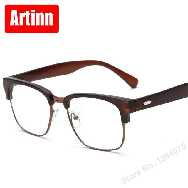 0e694db8e55eb Prescrição óculos de vento óculos novo modelo de moda retro meia armação  óculos simples óculos de