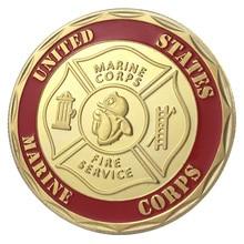США военный Сбор монет USMC Пожарная служба позолоченная наградная монета/сувенир/медаль 1195