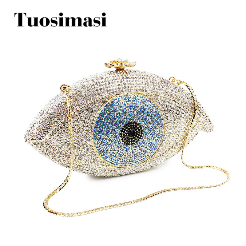 Evil eye sliver and gold crystal evening clutch bags fashion good lucky fashion women bags bag(8867A-S)