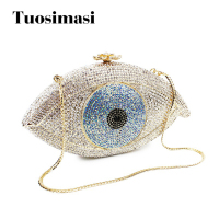Evil eye sliver and gold crystal evening clutch bags fashion good lucky fashion women bags bag(8867A S)