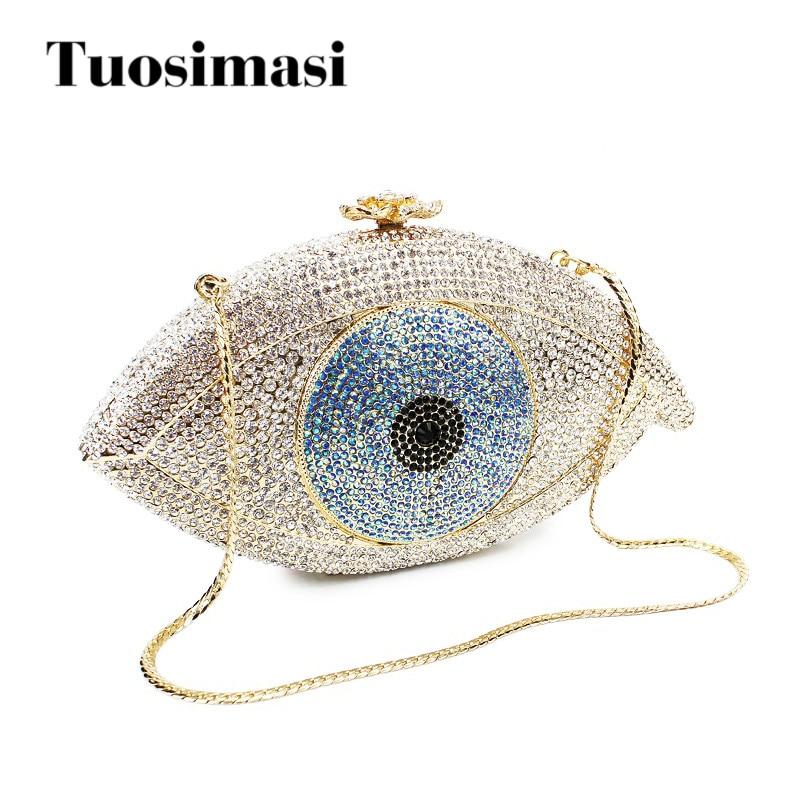 №Mal de ojo astilla y oro cristal noche embrague bolsos moda buena ...