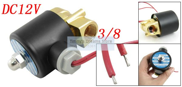 Free Shipping New 3/8 Inch Brass Solenoid Valve 12V DC Electric Air Water Gas Diesel Fuel free shipping new 1 2 inch brass solenoid valve 12v dc electric air water gas diesel fuel din coil 2w160 15 d
