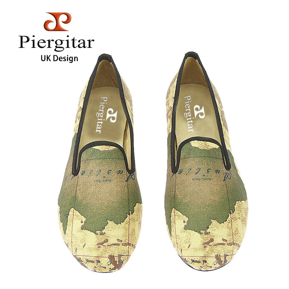 PIERGITAR new handcraft women fabric shoes with world map printing british style female casual slippers fashion woman loafers stylish hemming wide striped and world map printing voile scarf for women