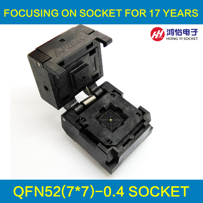 QFN52 Burn in Socket QFN52 MLF52 IC Test Socket Pitch 0.4mm Clamshell Chip Size 7*7 Flash Adapter Programming Socket qfn52 mlf52 wlcsp52 burn in ic test socket with clamshell np506 052 052 g adapter pitch 0 4mm chip size 7 7 programming socket