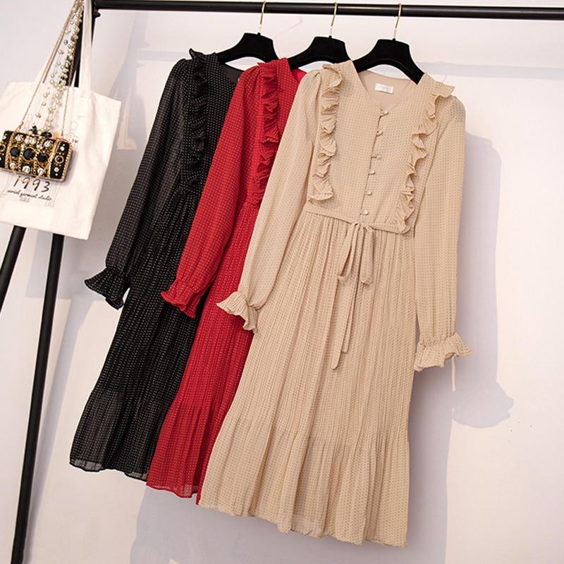 BGTEEVER Vintage O-neck Ruffles Chiffon Women Dress Flare Sleeve Polka Dot Lace Up Female Dress Two Layers Pleated Vestidos 20