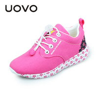Uovo New Fashion Kids Canvas Shoes Soft Outsole Light Sport Sneakers Girls Spring Autumn Casual Running