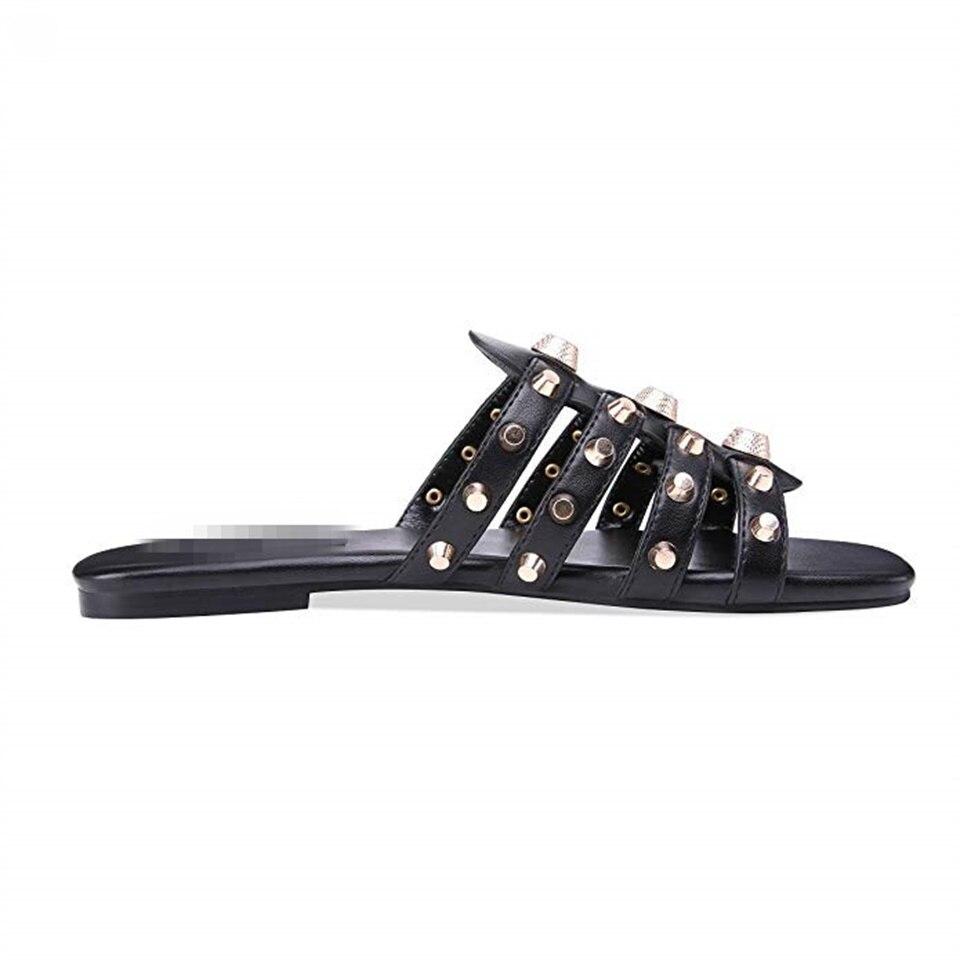 Nicht 35 Sandalen Sommer Schuhe Schwarzes Verkauf Mode Niet black2 Größe slip 43 Heißer Frauen Dekoration Hausschuhe qgwgT87x0