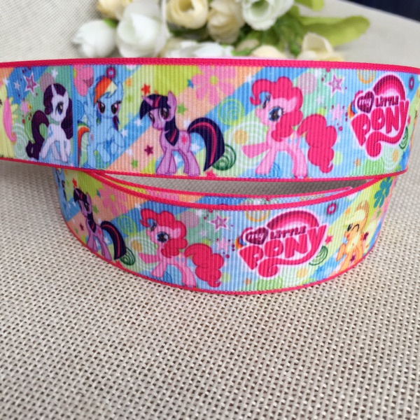 1 25MM new sales 10yard My Little Pony Cartoon Character printed Grosgrain Ribbon party decoration satin ribbons