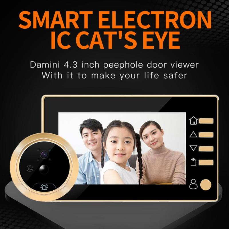Hot Sale Q10 Door Bell 4.3 Inch HD Display LCD Digital Door Viewer Peephole Camera Video Intercom Door Bell Camera For Home Secu