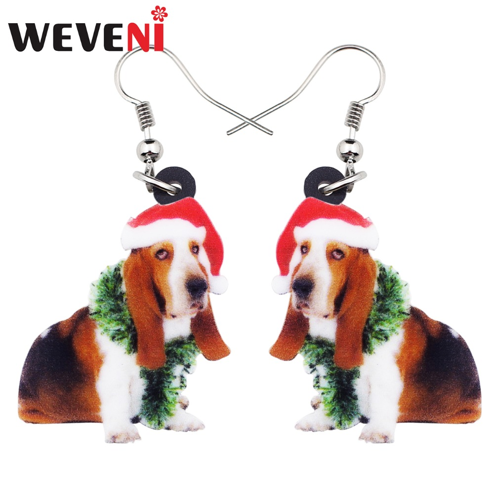 WEVENI Acrylic Sweet Christmas Basset Hound Dog Earrings Big Long Dangle Drop Novelty Jewelry For Women Girl Ladies Teens Gift