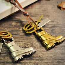 Steampunk fashion boy's Leather shoes Statement Necklace & pendant antique borneze and silver tone for men Fine Jewelry