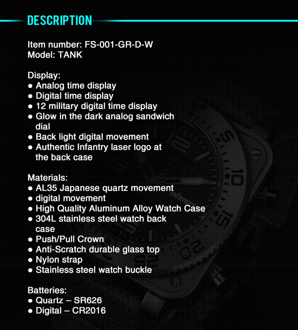 INFANTRY Military Watch Men Square Digital LED Wristwatch Mens Watches Top Brand Tactical Army Sport Nylon relogio masculino 9