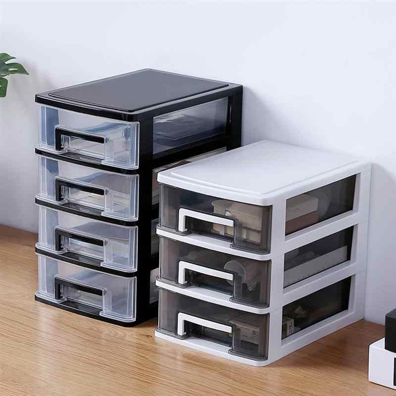 4 ชั้นโปร่งใสเดสก์ท็อปกล่องเก็บของลิ้นชัก MINI เครื่องสำอางค์ Organizer Sundries Home Office กล่อง