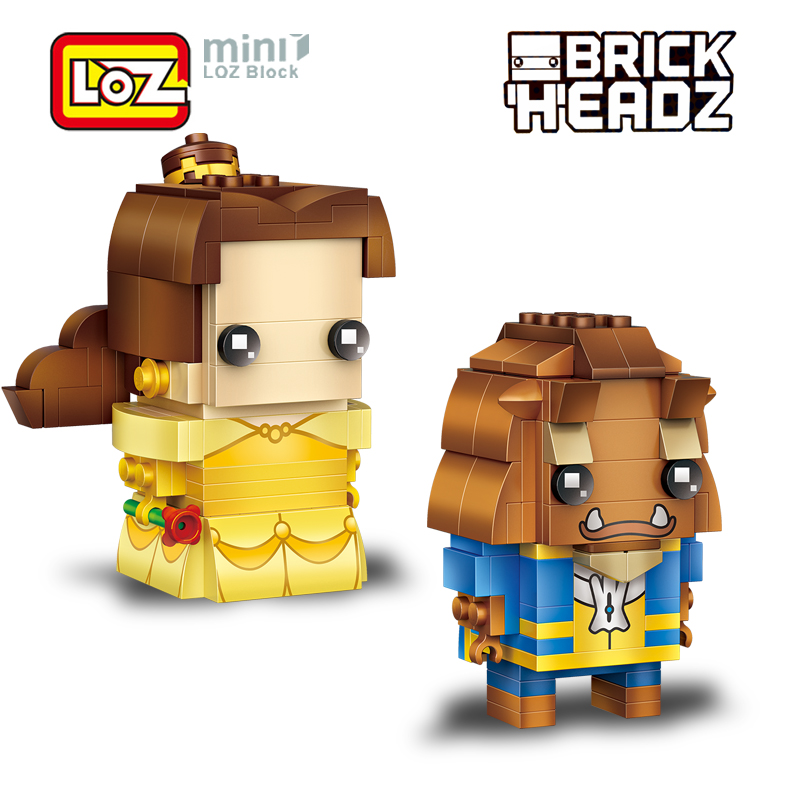 LOZ Beauty And The Beast Bella And Prince Mini Blocks Brick Heads Figure Toy  Assemblage Toys Offical Authorized Distributer beauty and the beast princess bella beast pvc figures toys girls gifts 6pcs set