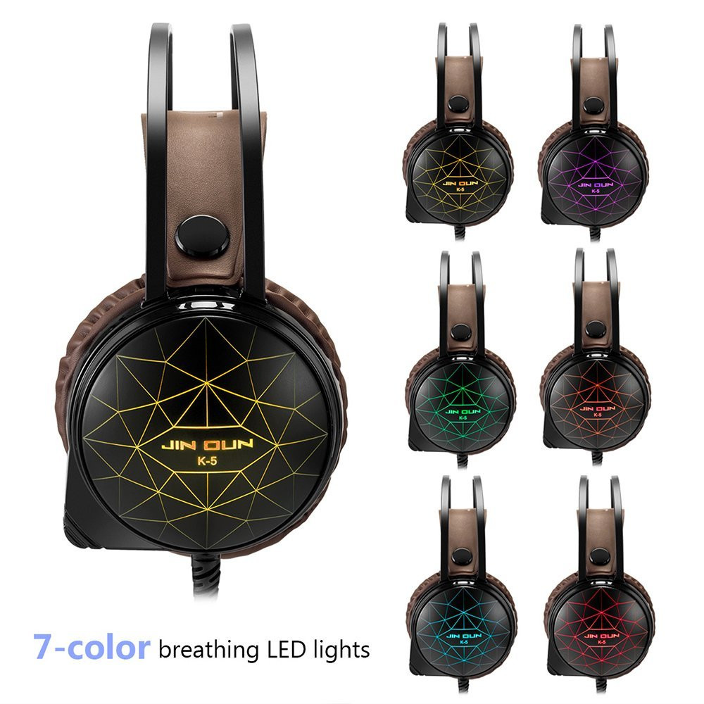 Headphones Stereo Gaming Headset 7 Colors Breathing LED Light Over-ear Headphones With Mic Computer Earphones With Microphone@tw new askmeer deep bass stereo gaming headset over ear computer gaming headphones with microphone breathing led light for pc gamer