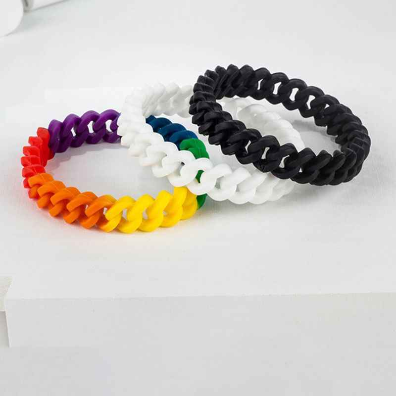 Minimalist Men Women Stretchable Silicone Bracelet Rainbow Chain Link Wristband Fashion Accessories Party Favors LGBT Parade