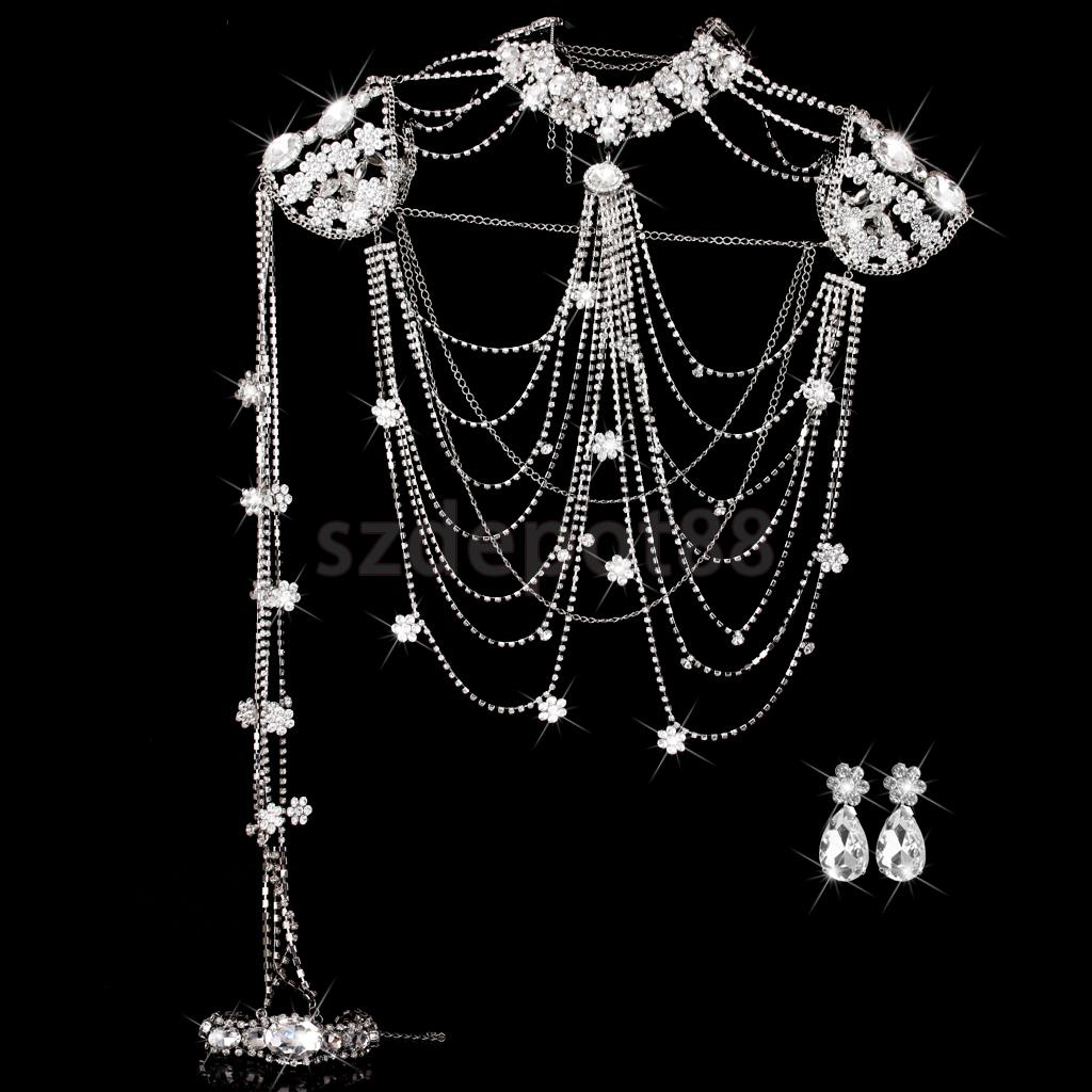 Wedding Bridal Jewelry Rhinestone Crystal Chain Shoulder Necklace & Ear Clip petal rhinestone chain fringe necklace