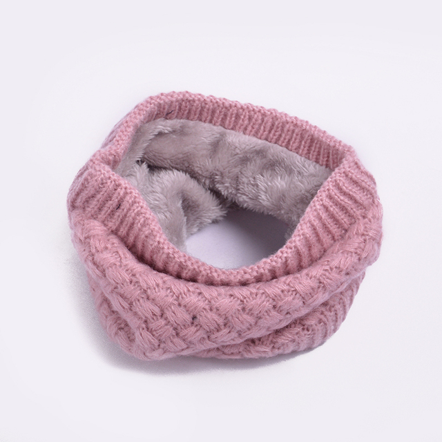 Winter Knitted Warm Kids Scarf Solid Color Baby Bibs Thickened Wool Scarves Girls Boys O Ring Neck Collar