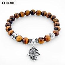Браслеты подвески chicvie с натуральным камнем тигровый глаз