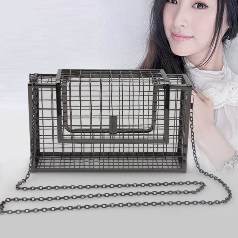 Image 4 - Fashion Style Metal Hollow Womens Evening Bag Shoulder Crossbody Bags Clutch Cage HandbagTop-Handle Bags   -