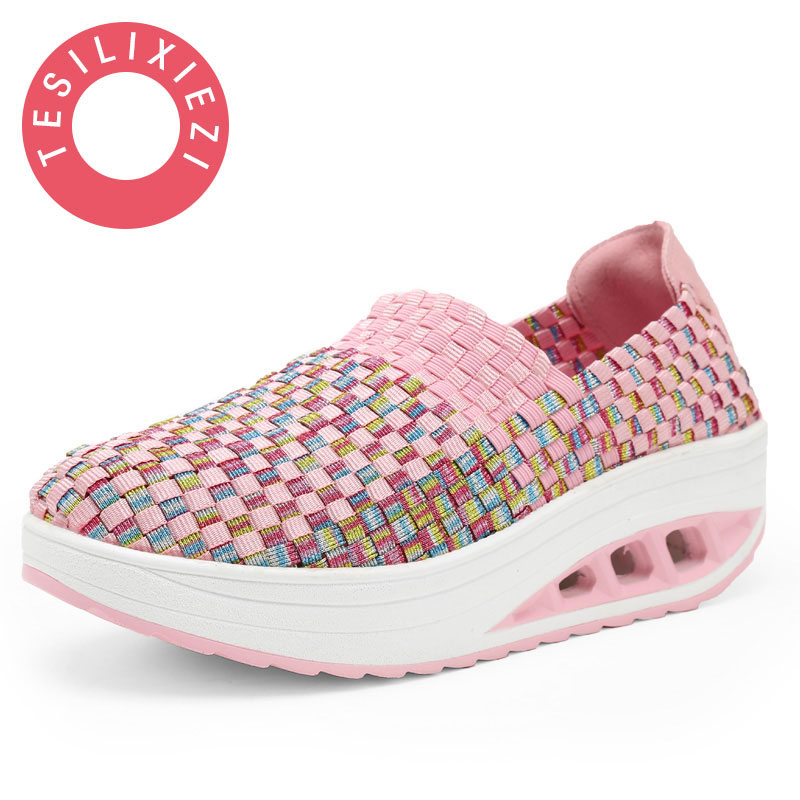 Women Casual Shoes Summer Breathable Handmade Women Woven Shoes Slip On Colorful Shoe Fashion Light Weight Flat Shoes Women 2018 women summer slip on breathable flat shoes leisure female footwear fashion ladies canvas shoes women casual shoes hld919