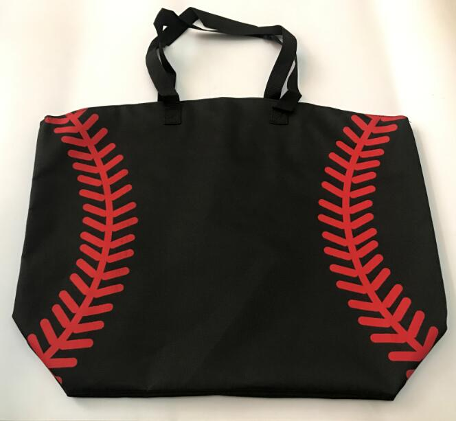 New Baseball Bag Football Baseball White Stitching Bags Baseball Women Cotton Canvas Sports Bags Baseball Tote Factories And Mines