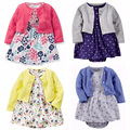 Baby girl clothing dress set carter algodón de manga larga outwear corta delgada dress girl dress conjunto mamelucos para bebes