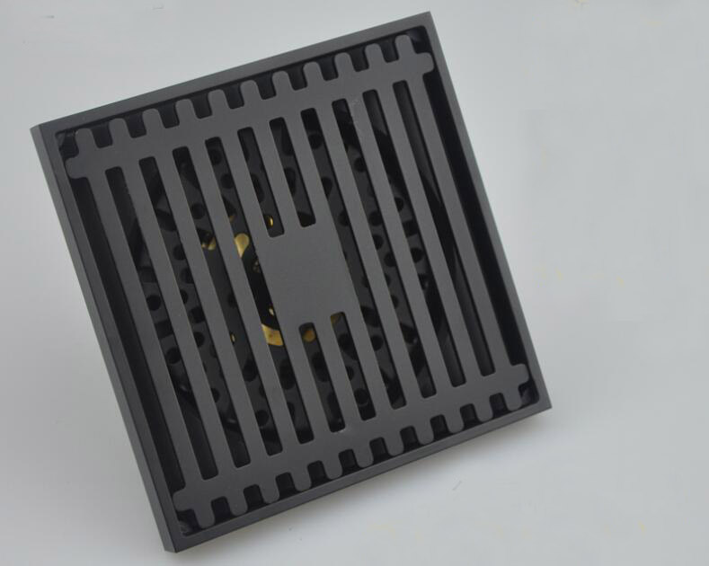 Free shipping brass bathroom Shower Drain matte Black Bathroom Floor Drain Square Anti-odor Floor Waste Grates 100X100MM DR555 free shipping high quality brass floor drain anti odor anti water backing anti virus chrome plated surface diameter is 40mm