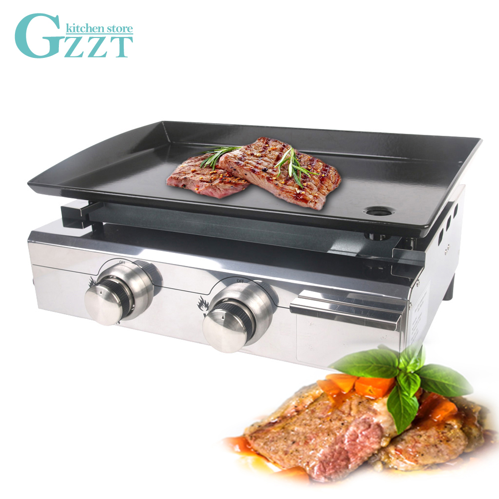 Stainless Steel 2 Burners Gas BBQ Plancha Design For Outdoor Use Gas Grill Enamel Cooking Plate CE Iron BBQ Plate