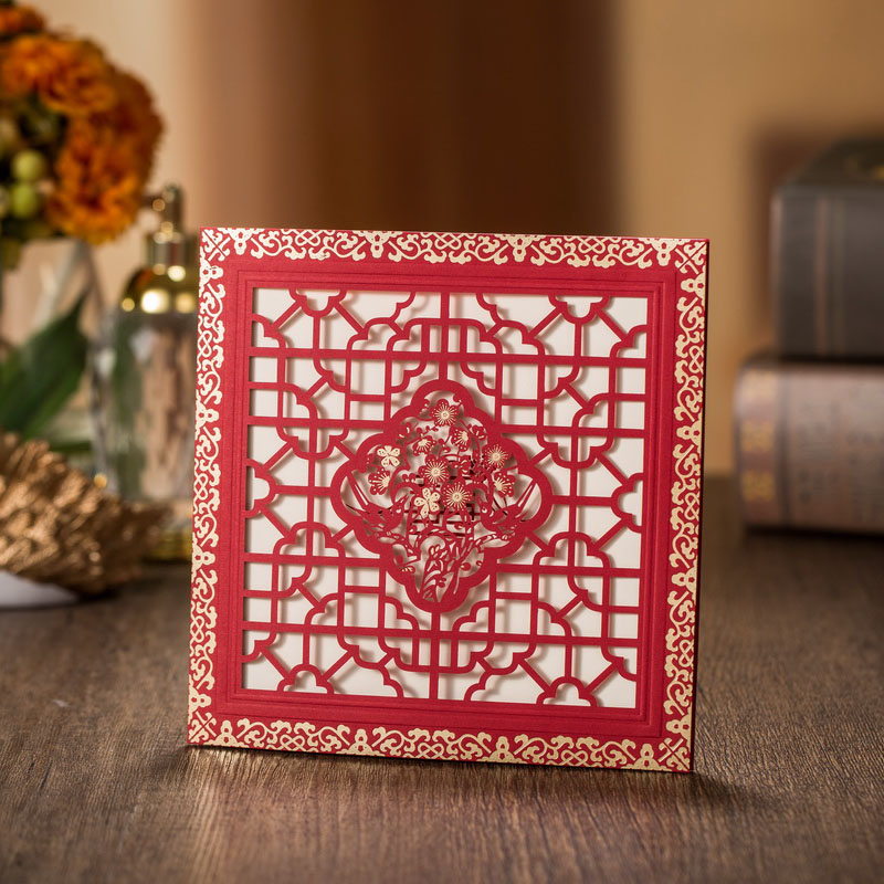 50pcs Square Flowers Hollow Marriage Wedding Invitations Cards Greeting Card 3D Card Laser Cut Postcard Event Party Supplies 1pcs sample laser cut bride and groom marriage wedding invitations cards greeting cards 3d cards postcard event party supplies