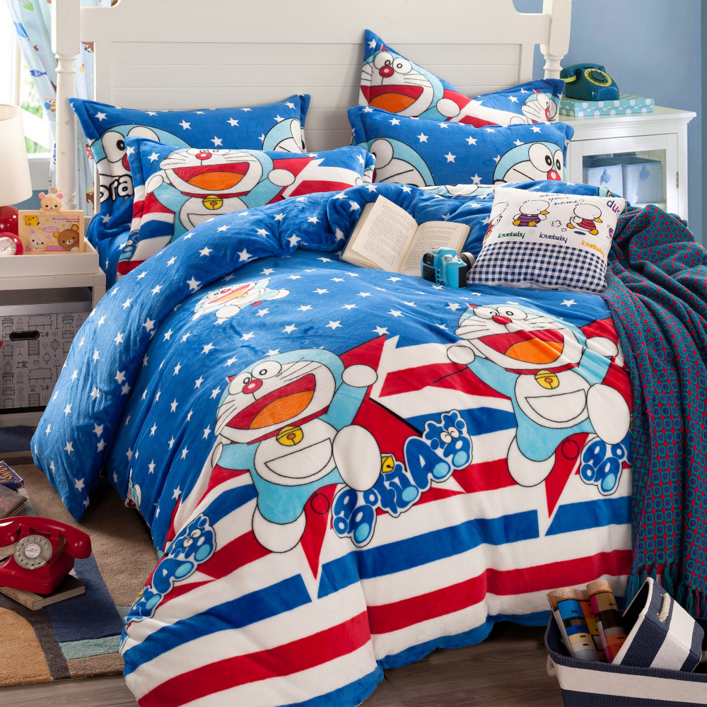 Hello kitty bedsheet blue - Doraemon Comforters And Quilts Cat Bed Sheets Hello Kitty Bed Linen Blue Comforter Sets Teen Bedding Polka Dot Striped Bedding In Bedding Sets From Home