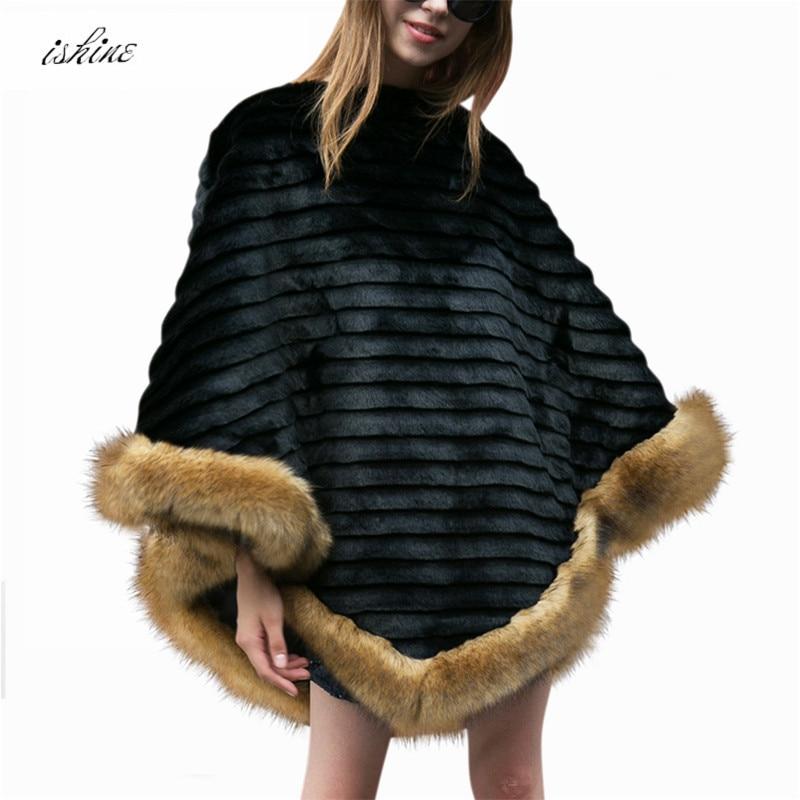 цена на Faux Fur Shawl Poncho Winter Warm Pullovers Poncho Luxury Vintage Faux Fur Poncho Shawl Black Femme Scarves