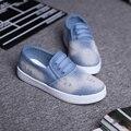 Hot Sale Women's Shoes Spring 2016 Platform Denim Canvas Shoes Women Loafers Espadrilles Flat Shoe Woman
