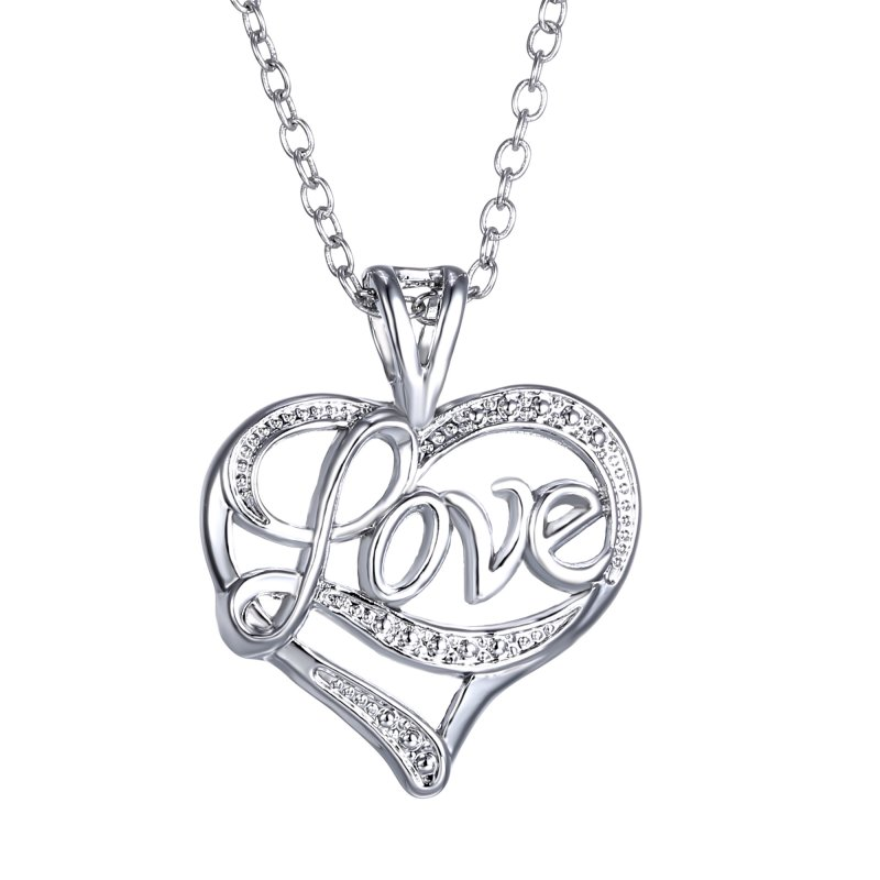 Valentines Day gift Fashion Jewelry Gothic Pendant Necklace Silver plated love heart Chain Choker Necklace