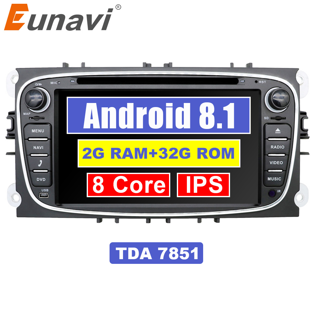 Eunavi 2 din Android 8.1 Octa Core Car DVD Player GPS Navi for Ford Focus Galaxy with Audio Radio Stereo wifi Head Unit 1024*600