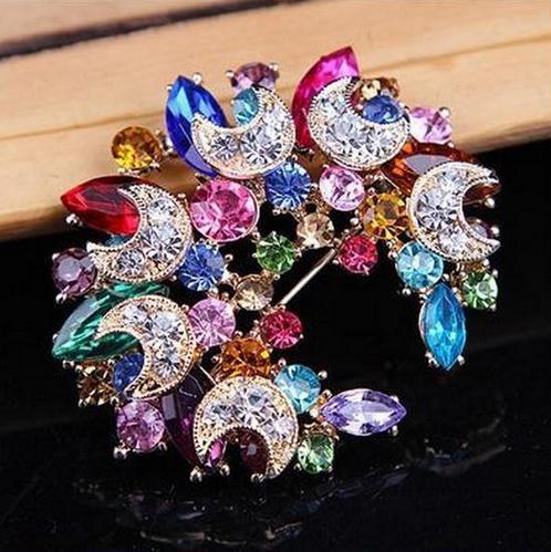 Бутоньерка на лацкан, булавки, прекрасный кристалл, модная женская свадебная брошь, хиджаб, булавки, ювелирные изделия, большой цветок, броши 20D - Окраска металла: colorful