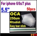 50 unids pegamento oca para el iphone 6 6 s 7 7g plus 5.5 pulgadas de Doble cara Pegatina Optical Adhesive Clear para el iphone LCD glass repair